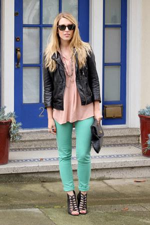 black Kelsi Dagger shoes - aquamarine Zara jeans - black Zara jacket - black Mar