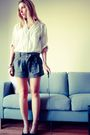 White-forever-21-shirt-green-forever-21-shorts-black-jeffrey-campbell-shoes