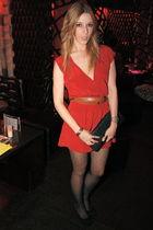 red Kimchi Blue dress - black Jeffrey Campbell shoes - brown vintage belt