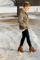 gray fur  coat - brown boots Kelsi Dagger shoes - navy JBrand jeans