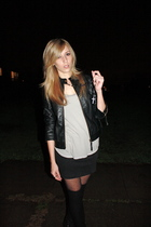 black Silence & Noise jacket - gray top - black Silence & Noise skirt - tights -