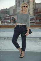 gray H&M top - black Zara blazer - pink sunglasses