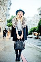 black fur trim vintage coat - black Lucky Brand boots - navy BDG jeans