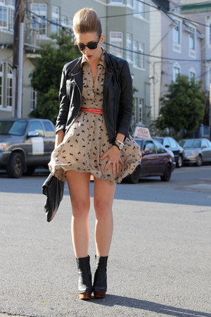 black leather Zara jacket - black Jeffrey Campbell boots