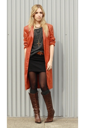 orange jacket - brown boots - gray socks - gray t-shirt - black skirt