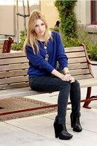 silver accessories - black sam edelman shoes - black BDG jeans
