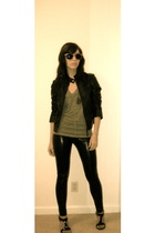 sunglasses - Blacktooth t-shirt - Urban Outfitters jacket - - forever 21 necklac