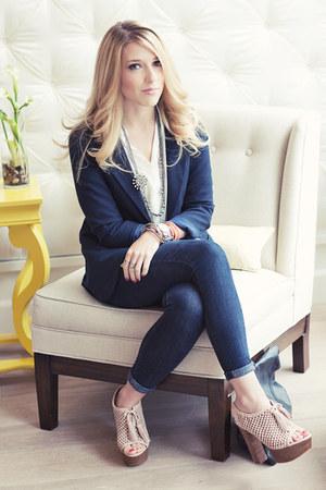 navy Levis jeans - navy Silence & Noise blazer - white Mink Pink blouse
