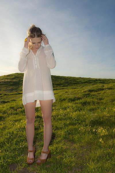 white Zara dress - brown Jeffrey Campbell shoes