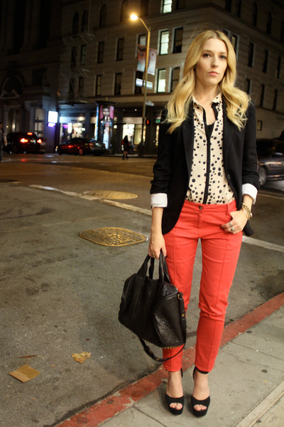 peach polka dot Zara blouse - black Steve Madden shoes