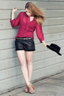 Black-vintage-hat-black-leather-bird-by-juicy-couture-shorts-crimson-blouse