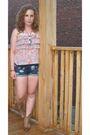 Pink-zara-shirt-white-american-apparel-shorts-gold-spring-shoes-white-zell