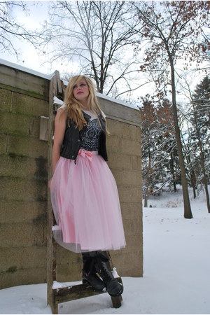 dark gray Dr Martens boots - light pink tulle silk Hand Made skirt - dark gray v