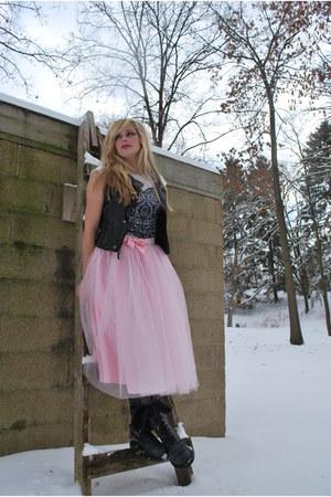 dark gray Dr Martens boots - light pink tulle silk Hand Made skirt - dark gray v