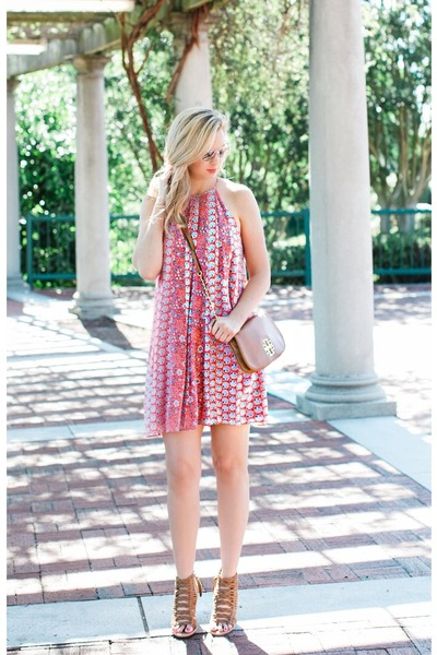 tory burch bag - Rebecca Taylor dress - Dole Vita sandals