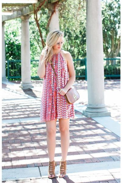 tory burch bag - Rebecca Taylor dress - Dole Vita sandals