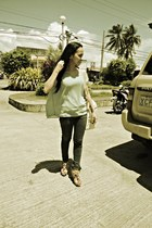 jeans - brown wedges - sheer top
