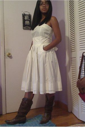 white dress - brown boots