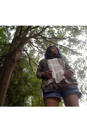 green Target jacket - white Target blouse - brown Target top - blue shorts - bla