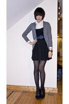white vintage shirt - blue vintage belt - gray Macys cardigan - black new look t