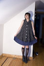 Black-vintage-top-blue-vintage-skirt-black-target-socks-gray-vintage-shoes