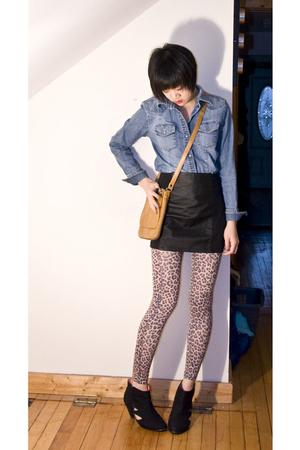 brown leopard Topshop tights - black cutout we who see boots - blue Gap shirt