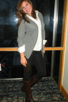 brown Aldo boots - white white Gap shirt - heather gray grey Mossimo cardigan -