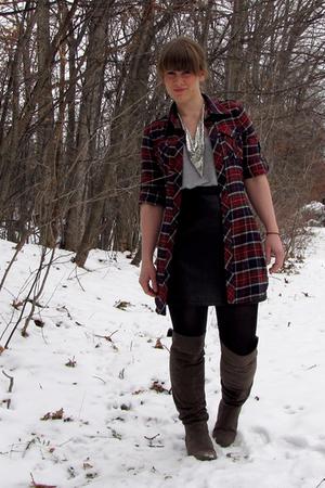 Express skirt - Target shirt - Ross shirt - Target boots - vintage necklace