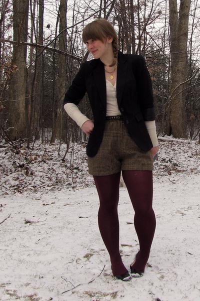 c05a01504c3d JCP blazer - Target shirt - thrifted - DIY shorts - HUE tights - JCP shoes
