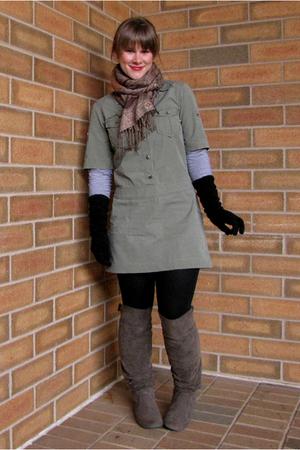 Jcrew dress - Target boots - Ross shirt - Target scarf - kohls gloves