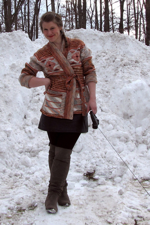 vintage sweater - clothing swap skirt - Target boots