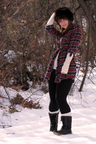 black thrifted leggings - beige Target shirt - hat accessories - Target boots -