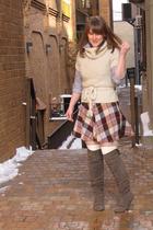 bitten blouse - TJMaxx sweater - thrifted skirt - Target boots - Target socks