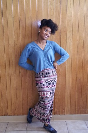 skirt - blue Groove shoes - teal teal pins and needles cardigan