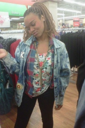 rag-o-rama jacket - black skinnies BDG jeans - deena and ozzy bag - Rue 21 top