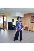 black shirt - black black chiffon pants - black Qupid heels