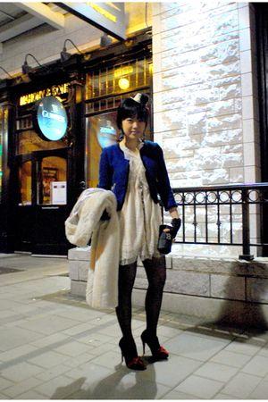 blue H&M jacket - beige random from Hong Kong dress - white H&M coat - black ran