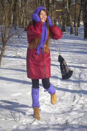 deep purple handmade handmade hat - gold Timberland boots