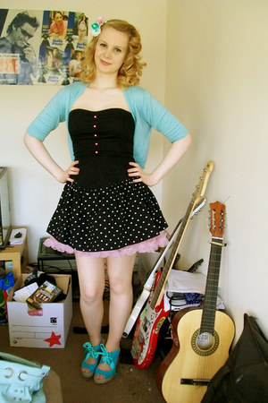 black polka dot unknown brand dress - bubble gum petticoat Ebay skirt - turquois
