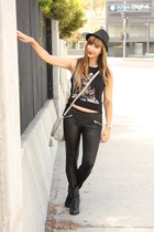 black kitty tank top Forever 21 top - black booties Soda boots