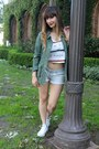 Army-green-utility-jacket-rubbish-jacket-light-blue-cutoffs-klique-b-shorts