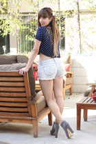 navy Forever 21 top - light blue cutoffs Klique B shorts