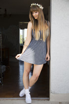 navy brandy melville dress - white ruffled socks American Apparel socks