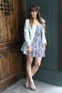 Nude-steve-madden-heels-purple-printed-dress-reformed-dress