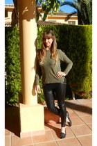 olive green BDG sweater - black pleather Silence & Noise leggings