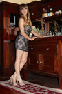 Black-lace-minidress-bebe-dress-beige-steve-madden-heels