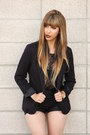 Black-blazer-silence-and-noise-blazer-black-faux-leather-forever-21-shorts