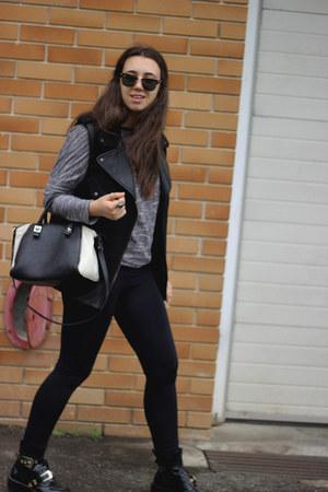 Zara bag - balenciaga boots - ray-ban sunglasses - Zara vest