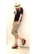 black blouse - beige Dace pants - brown shoes - beige hat - silver accessories