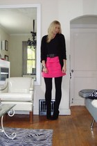 sweater - American Apparel t-shirt - central park skirt - boots